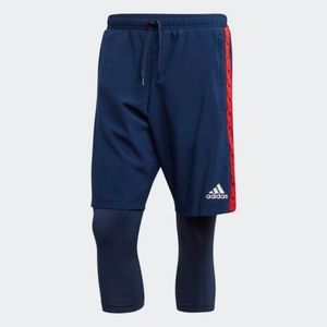 Adidas 2 in 1 TAN Short Blue Red Men's Tights New